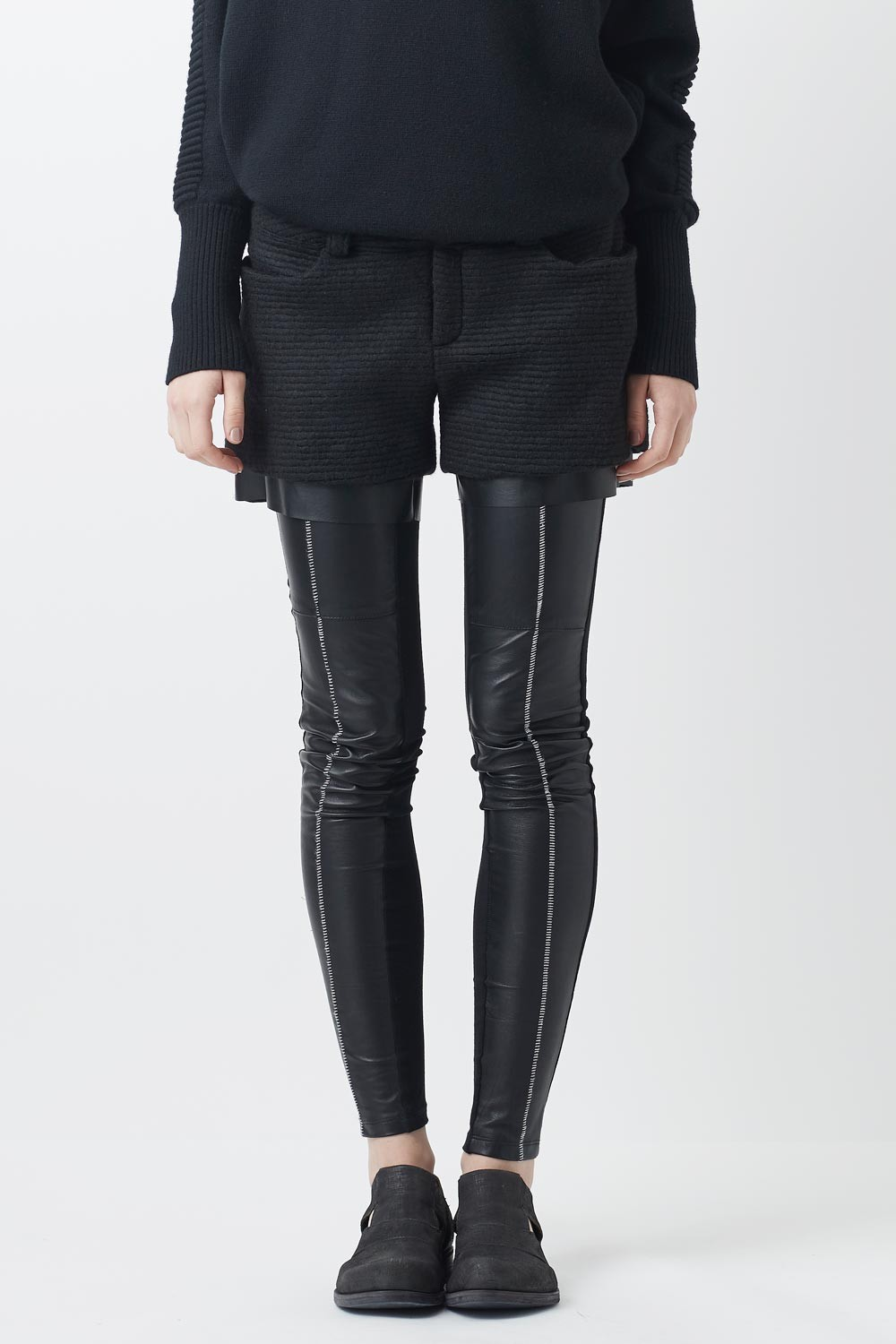 Leather Combi Over Lock Leggings - AL-1098