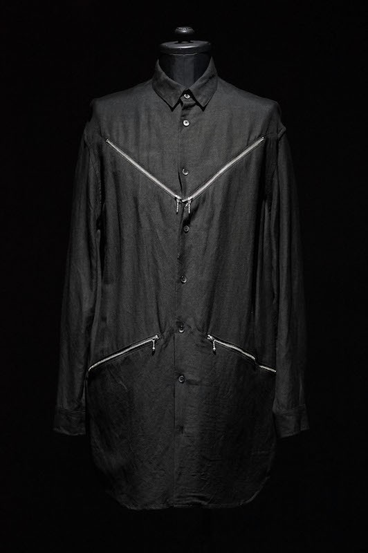 DIET BUTCHER SLIM SKIN [DBSS] 16SS Zipper Long Shirt BLACK