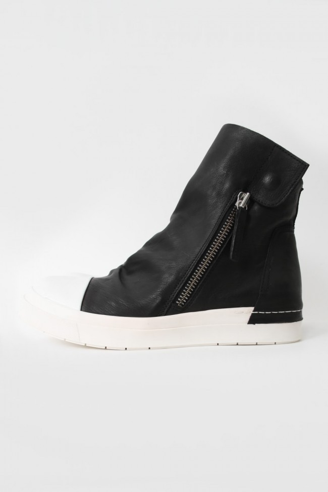 """16AW 'RING""""  Side ZIP Flap Sneakers BLACK×WHITE"""