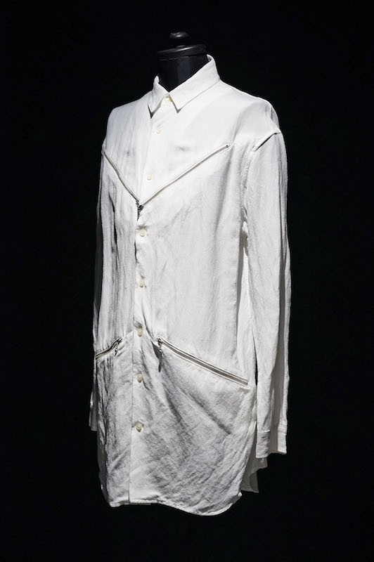 DIET BUTCHER SLIM SKIN [DBSS] 16SS Zipper Long Shirt WHITE