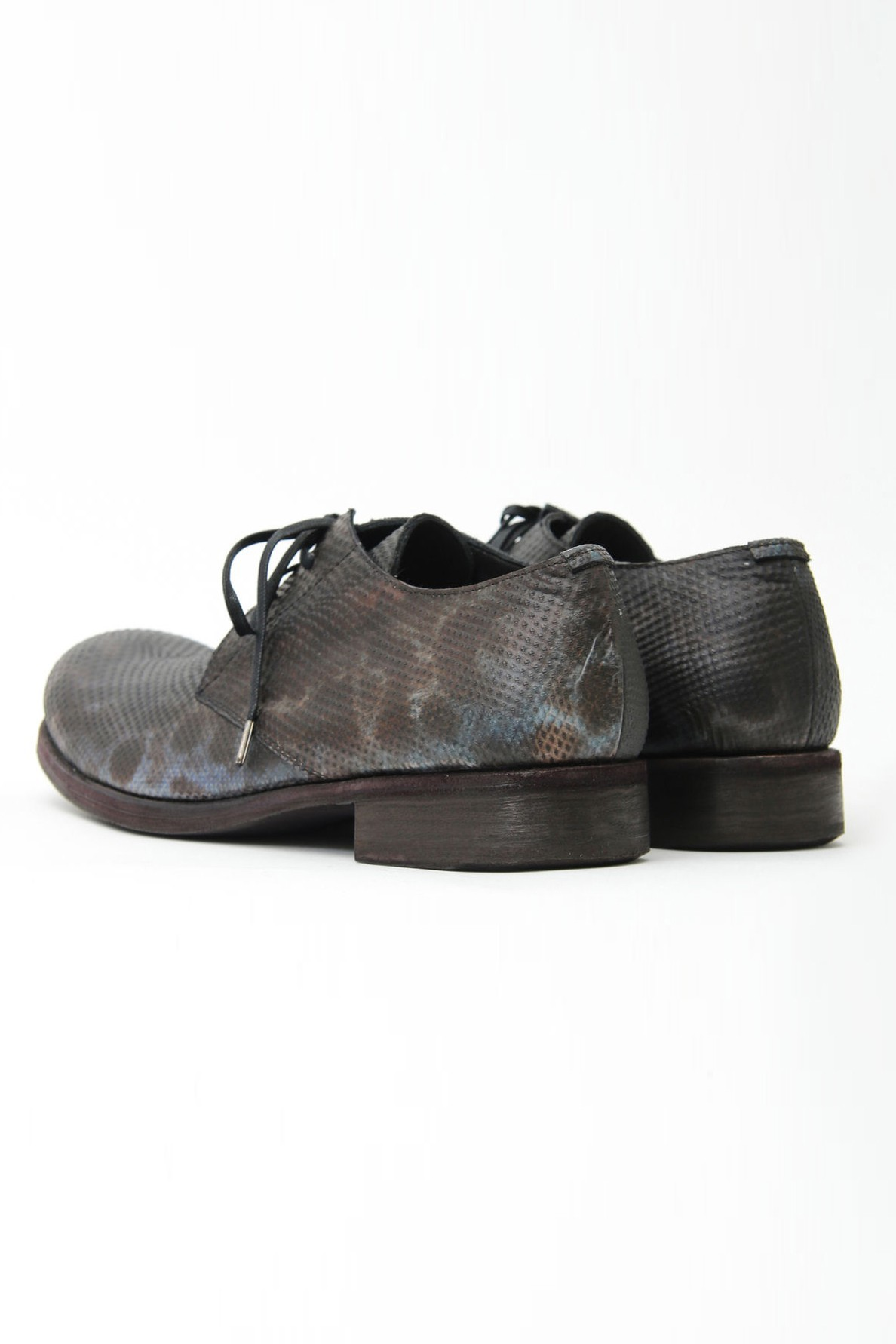 Water Snake Leather Lace-up Shoes Out Heel
