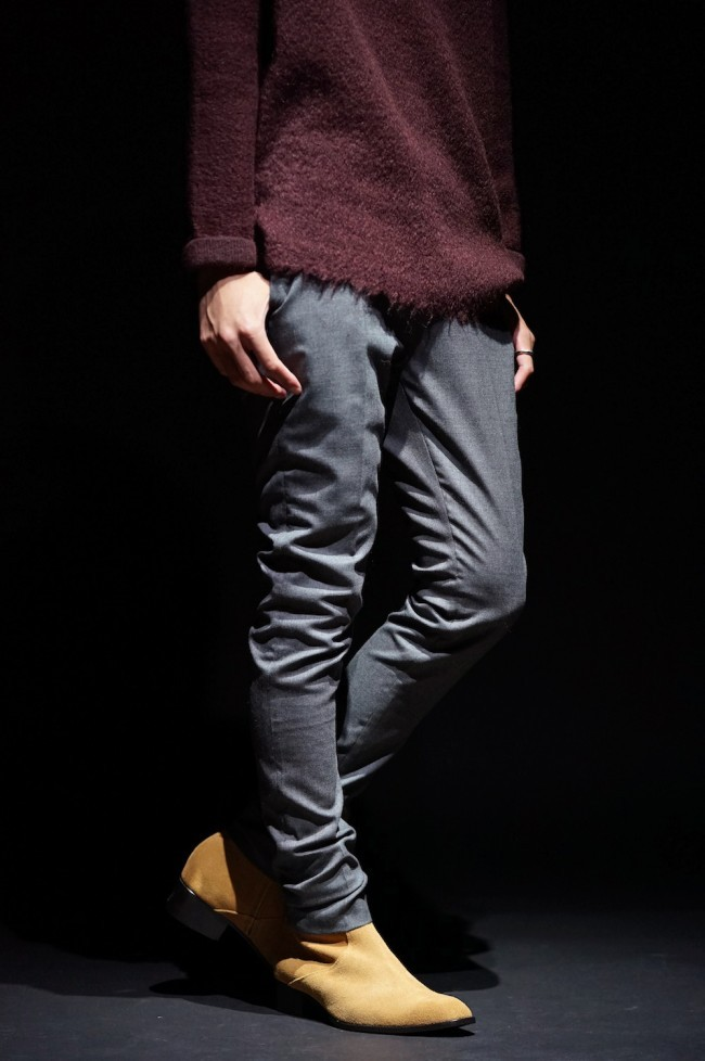 16AW WOOL STRETCH SKINNY TROUSERS CHARCOAL