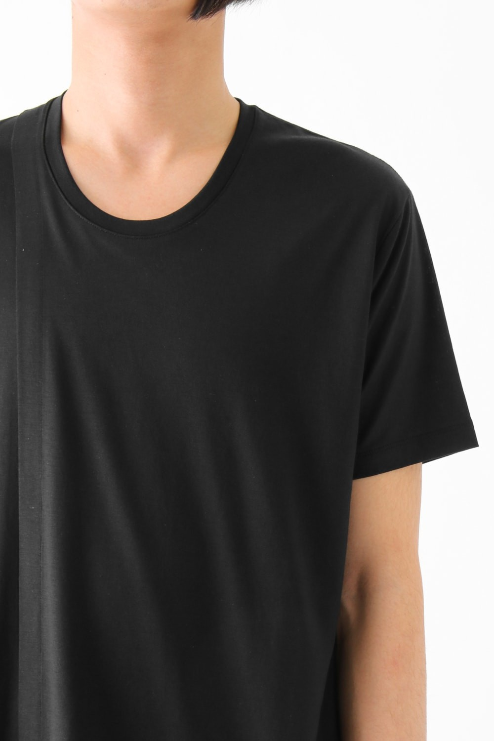 17S Primary Nanocia Plain Stitch Layered Big Tee BLACK