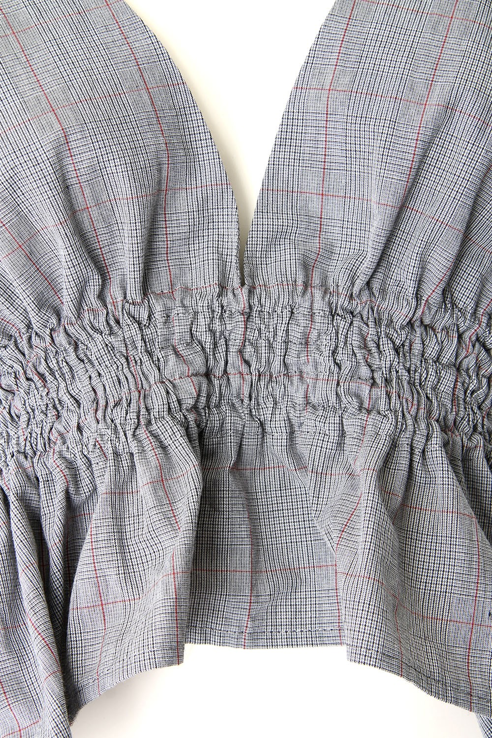 PLAID GATHERED TOP - 17S-DT-02