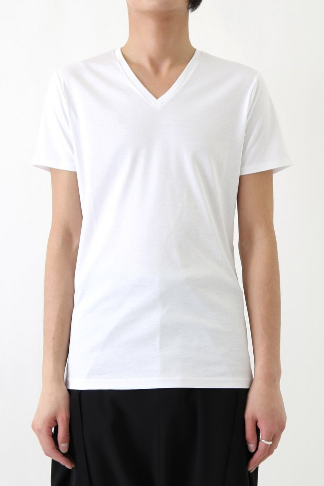 17SS 60/1 Bio Mercerization Smooth Round Tail V-Neck Cut-Sew WHITE