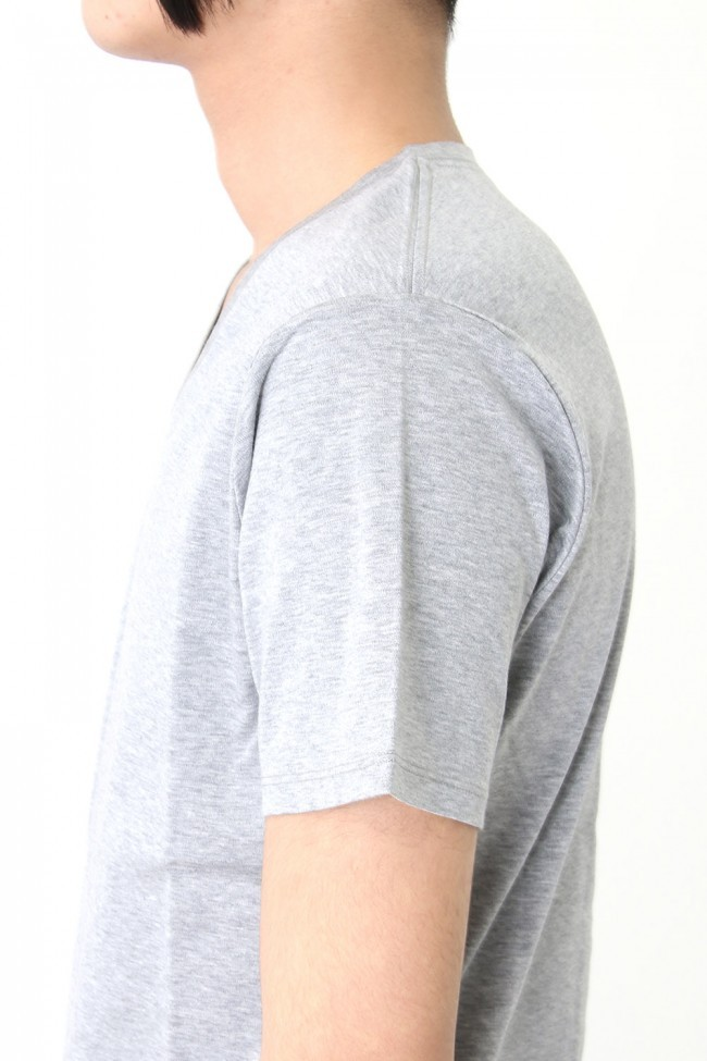 17SS 60/1 Bio Mercerization Smooth Round Tail V-Neck Cut-Sew GRAY