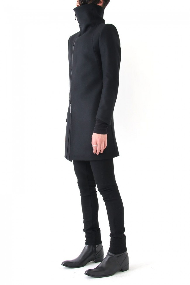 17PS 60/1 Compressed Seed Stitch High Neck ZIP Coat