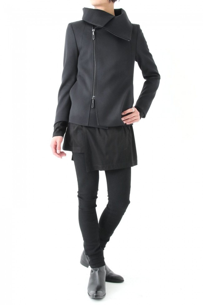 17PS T/W Double Cloth High Neck Zip Short Coat