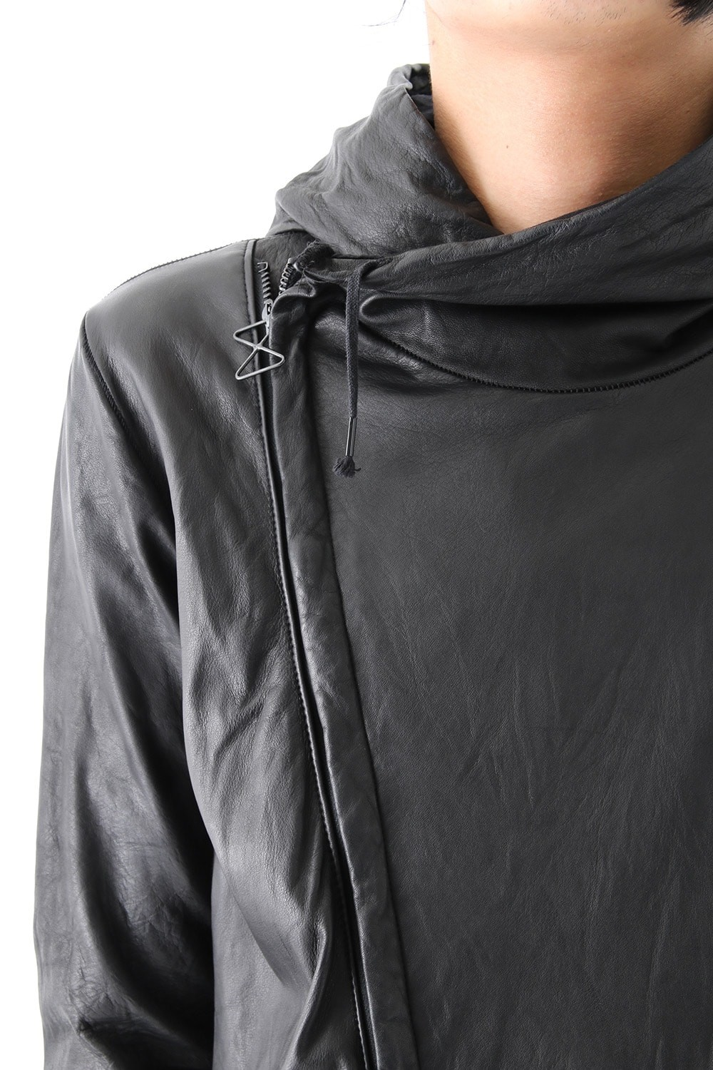 16AW HOODIE ALL LEATHER JACKET
