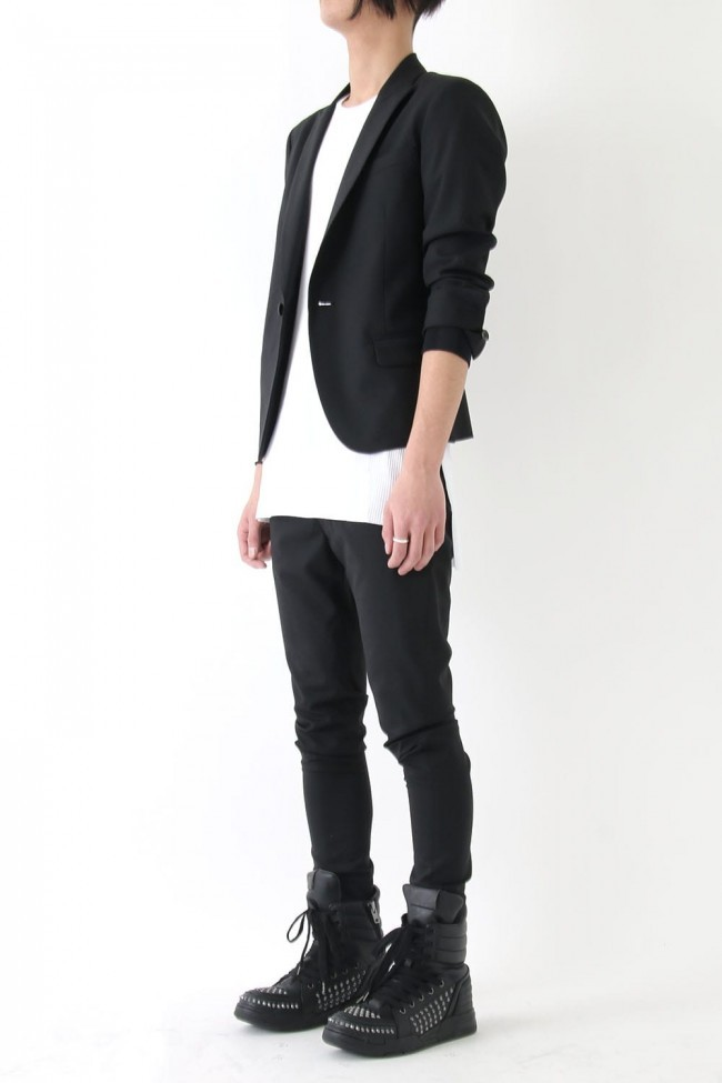 17SS Wool stretch 2tacks tapered pants