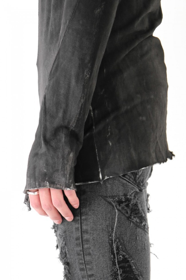17SS Rough overdyed with fairly pigment coating black spray cut-sew