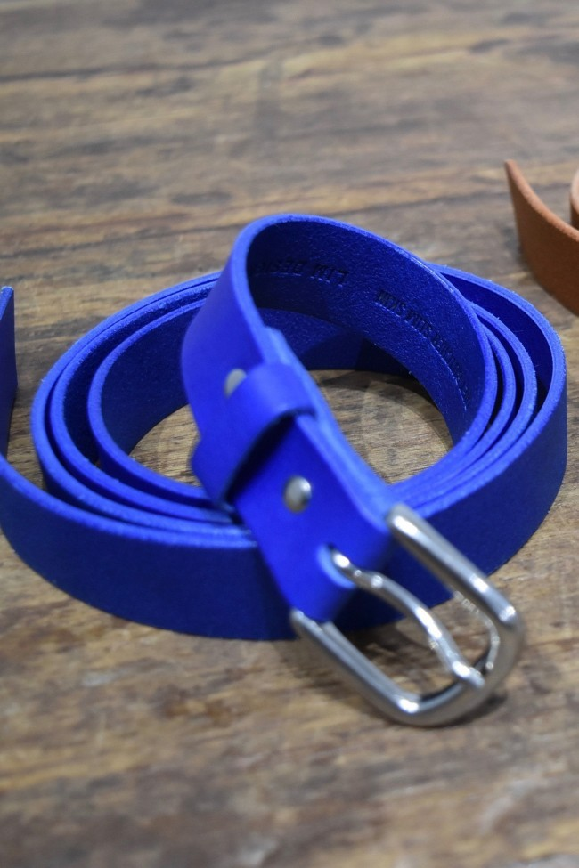 17SS Leather long belt BLUE