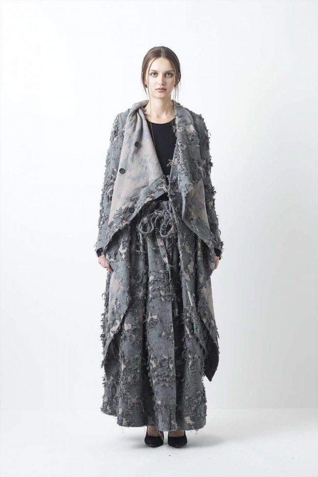 Layered Long Cut Jacquard Coat - 08-C05