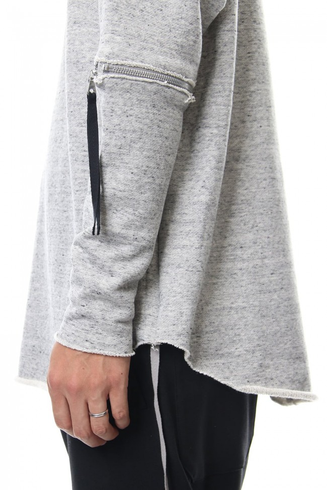 Removable Sleeves Pullover  - snowgray