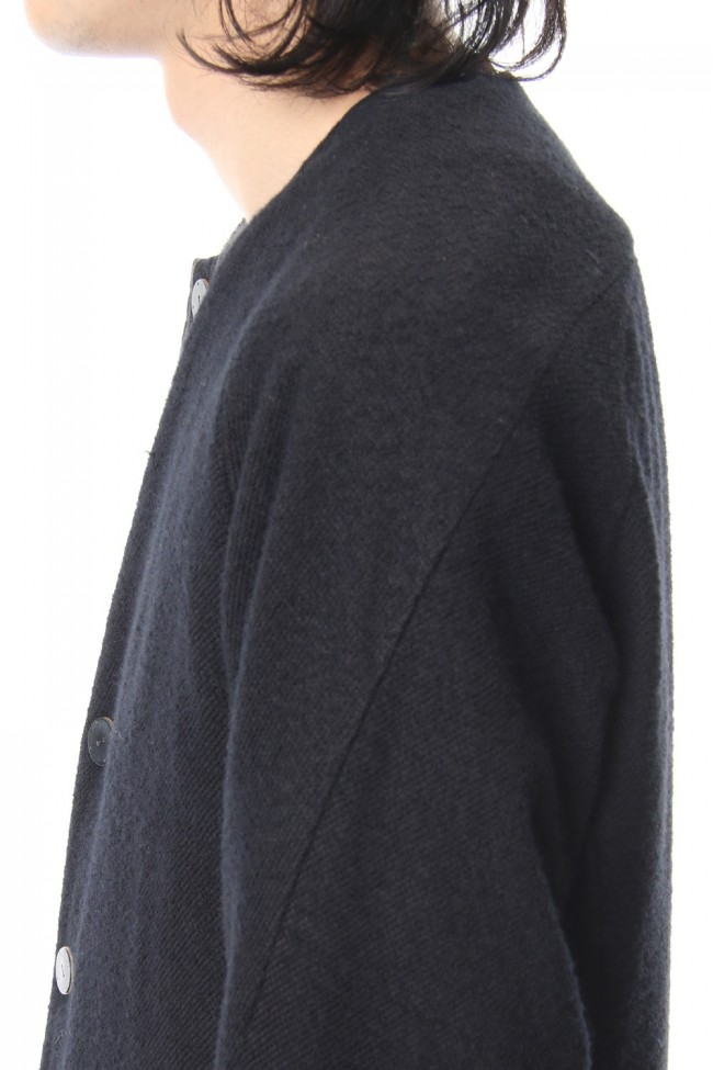 Coat Wool / Cotton Raschel Knit Blue Black