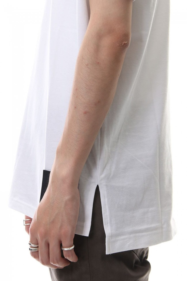 Drop shoulder leather patch T-shirt White