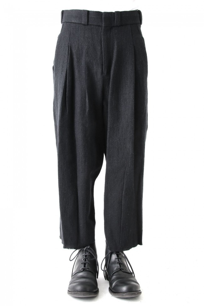 Cropped Pants Silk Linen Wool Stripe - DEVOA