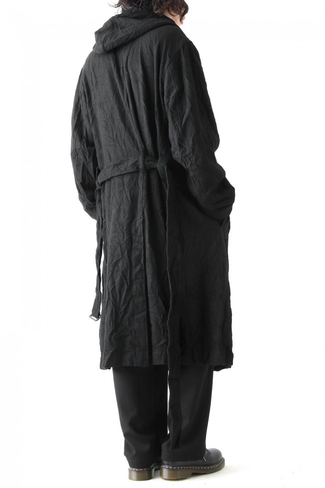 Wrinkle Flannel Hooded Coat