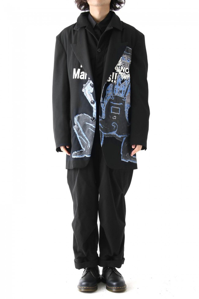 Deformation Collar Print Jacket