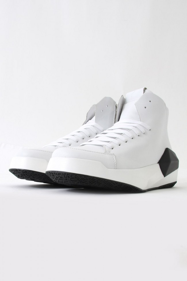 17SS DYAMONT Geometric Leather Sneaker  CALF / WHITE