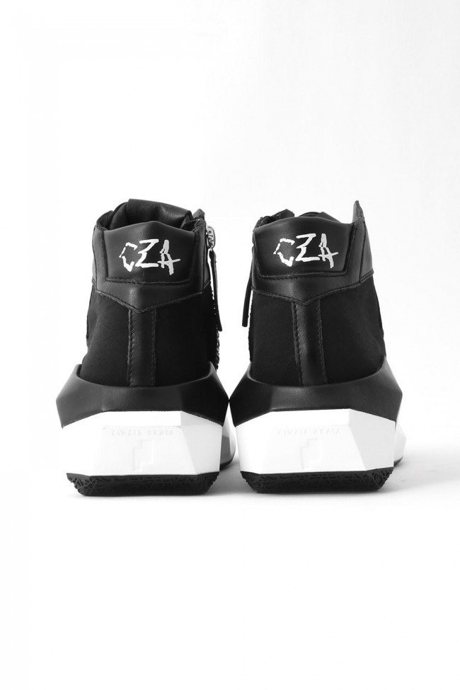 17SS DYAMONT Geometric Leather Sneaker CALF×NYCER / BLACK
