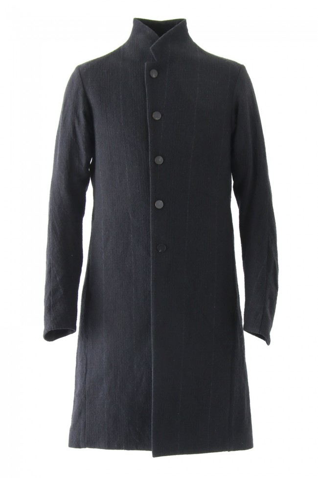 Coat Silk Linen Wool Stripe - DEVOA