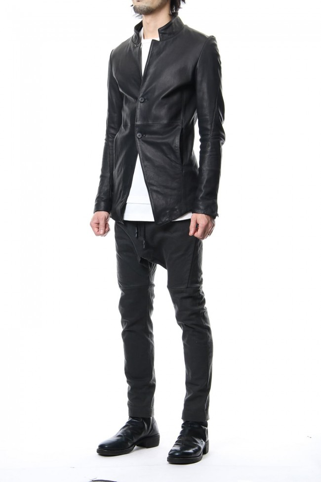 Cow Hide Draping Leather jacket RB-029 Black