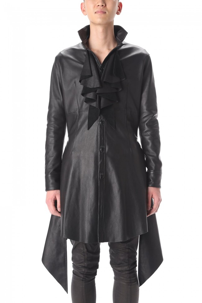 Frill Leather Long Shirts