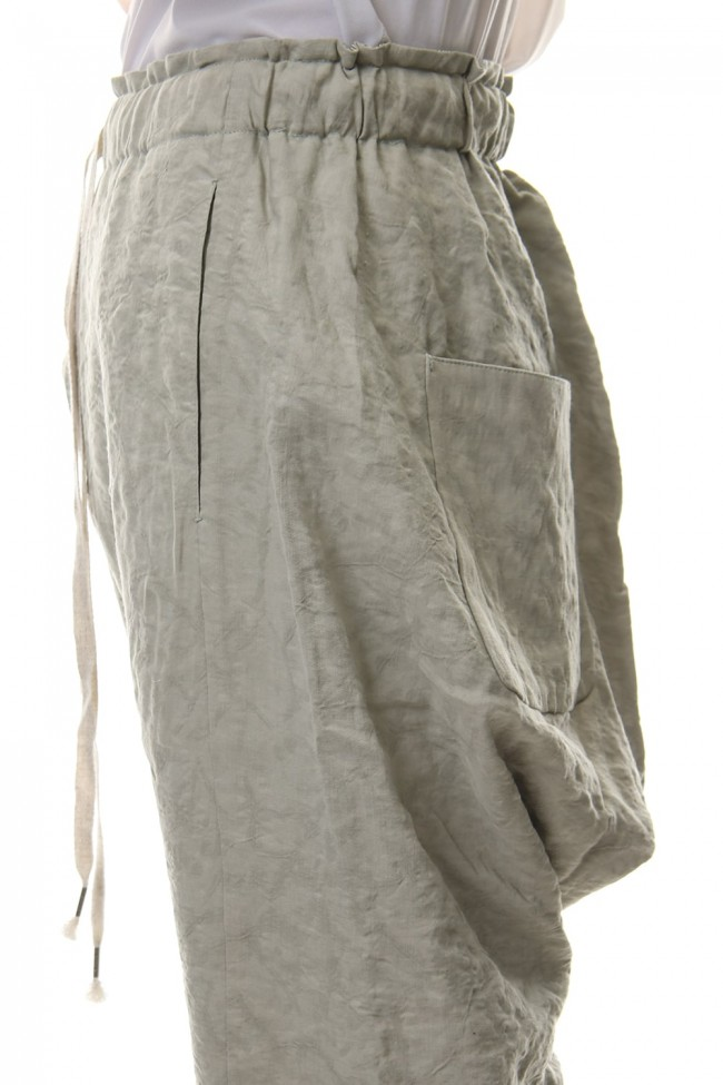 Pants Rayon Linen hand Made Salt Wrinkle Snow Gray PA44-RY3