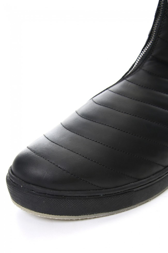 Smooth Leather Kilt Stitch Tornado Zip High Cut Sneakers RB-032 BLACK×BLACK