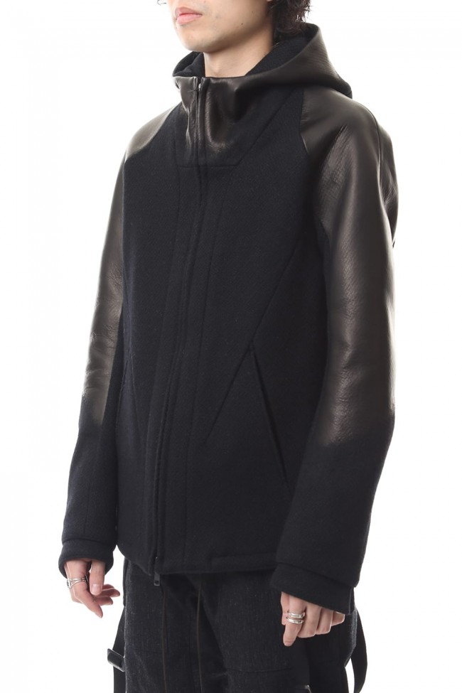 Leather needle punch Hooded jacket - ST104-0059A