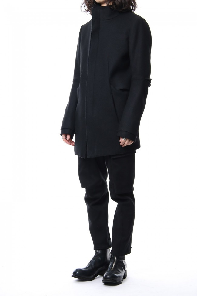 Angola Wool Melton Layered Half Coat
