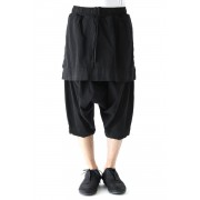 Attaached Skirt Crotch Pants-Black-1