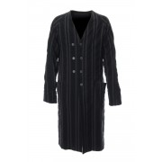 Coat Wool/ Cotton Stripe-Black Stripe-2
