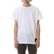 Drop shoulder leather patch T-shirt White-White-1