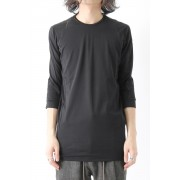 Three-quarter Sleeve Cut Sew 80/2 Cotton Jersey-Charcoal-1