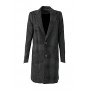 Distorted Check Needle Punch Coat - 07-C01-Black x Black-1