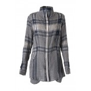 Distorted Check Needle Punch Blouse - 07B-B01-Navy x Gray-1