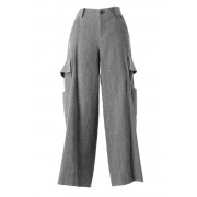 Wool linen cotton Washed Cloth Cargo Pants-Sumi-1