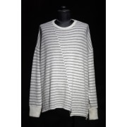 16W Striped asymmetry neck loose pullover  BLACK × CHARCOAL GRAY-BLACK×CHARCOAL-FREE