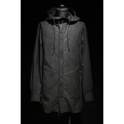 16AW SUEDE CLOTH HOODED LONG SHIRT-BLACK-1