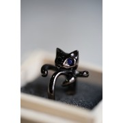 16SS BLUE EYE BLACK CAT PINKY RING-BLACK SILVER-7