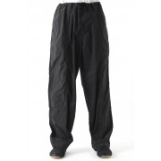 Classical Switched Parts Draw Cord Dyed Pants-Black-3