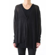 17SS Over size asymmetry knit cardigan -BLACK-1
