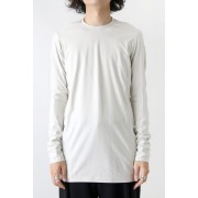 Long Sleeve Brushed Vintage Jersey Cotton-White Gray-1
