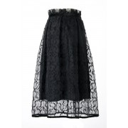 SILK LACE SKIRT-Black-2