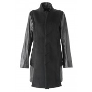 Arm Leather Chester Coat - ag-0829-Black-38