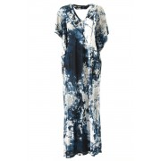 """Bloom"" Print / 30 Tencel Jersey One-piece Dress - DK11-CS01-O05 - divka-Navy x Grege-2"