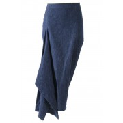 6oz Cotton Linen Stretch Skirt - DK11-06-S01 - divka-Indigo-1