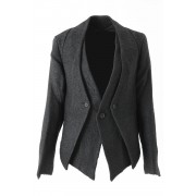 Linen Cotton Paper Tweed Layered Jacket - DK11-10-J02 - divka-Black-2